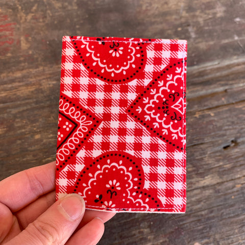 Gingham hearts handmade vintage fabric wallet