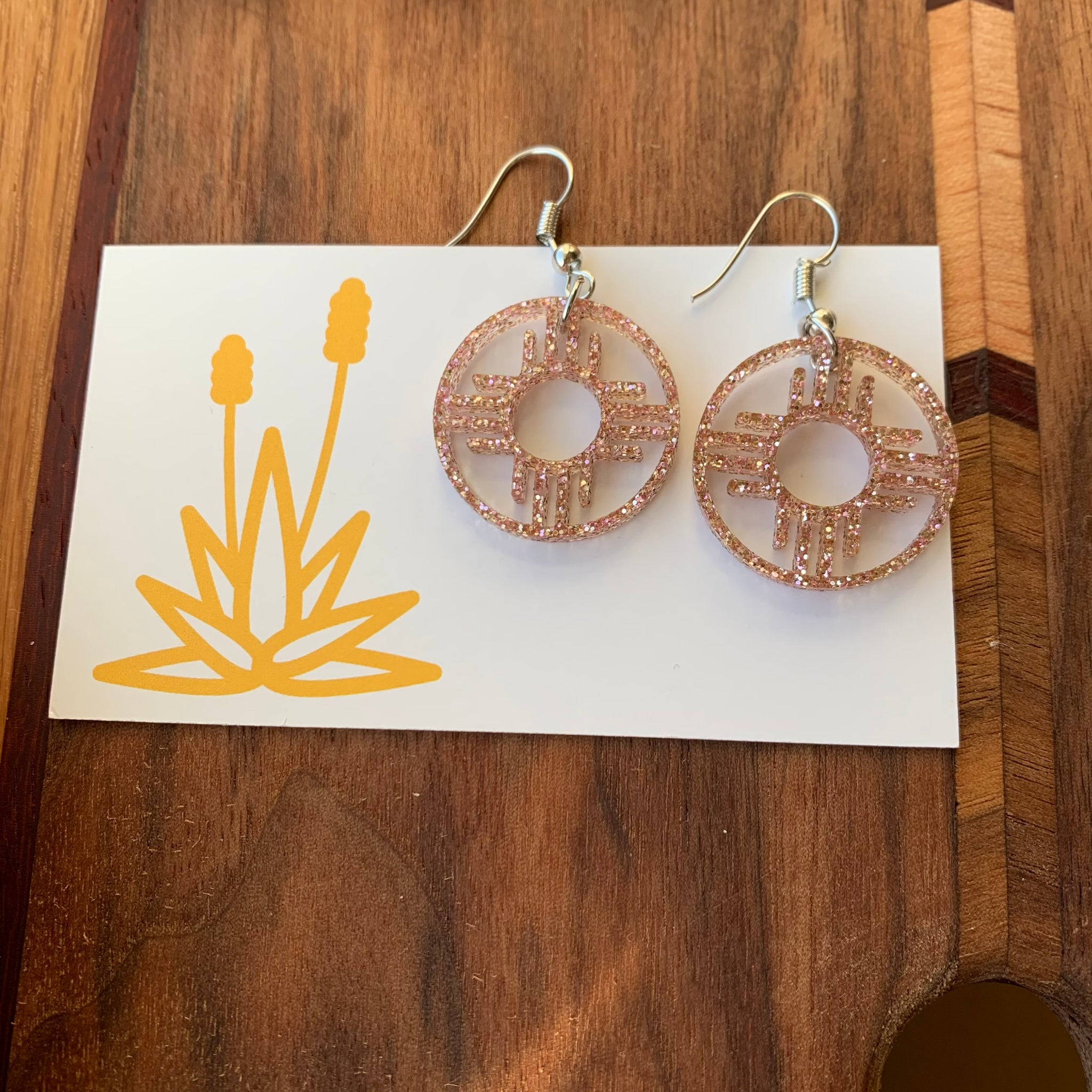 Rose Gold glitter Zia earrings MrMr