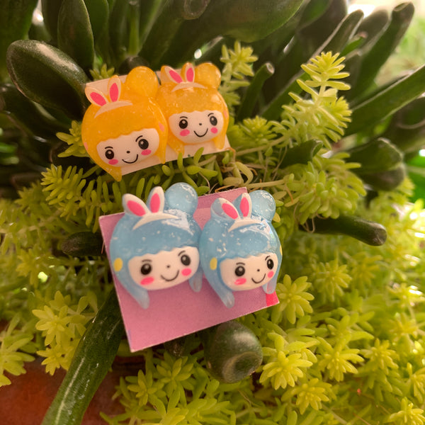 Little yellow Japanese Character with bunny ears stud Earrings
