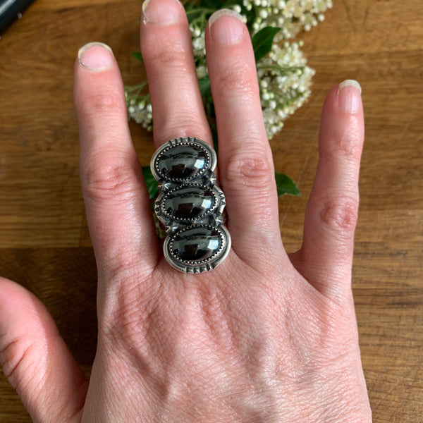 Size 7 triple hematite and silver ring