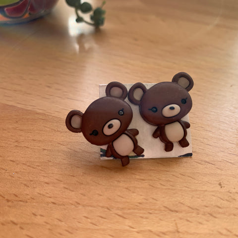 Brown teddy bear stud Earrings-