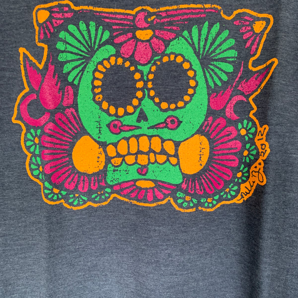 Sugar Skull Heather Navy Ladies V Neck Tshirt  nikkizabicki design
