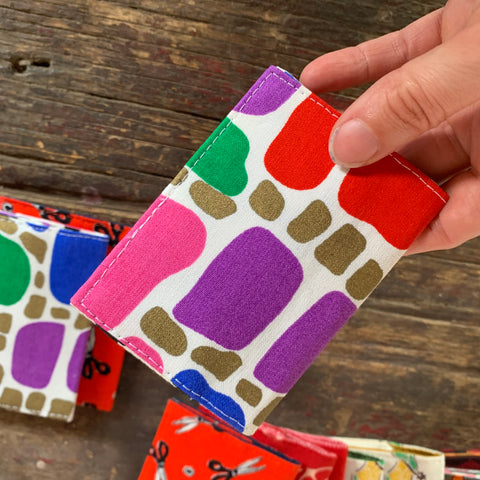 Abstract squares handmade vintage fabric wallet