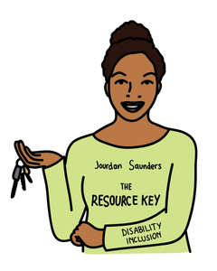 "a carton image of Jourdan Saunders holding keys wearing a green shirt with the text ""Jourdan Saunders The Resource Key"", on the sleeve the text ""Disability Inclusion"""