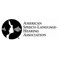 American Speech Language Hearing Association black and white logo with people icon faced to the side communicating