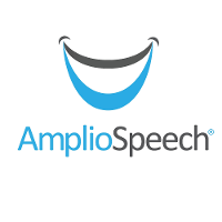 AmplioSpeech logo with blue and gray smile