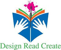 Design Read Create logo with colorful book with paintbrush going through spine of book