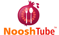 NooshTube logo with red onion with fork and spoon inside