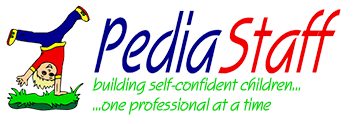 PediaStaff logo with blue and red text with person flipping on grass