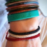 red black white waxed cotton thai wristband bracelet handmade in Chiang Mai