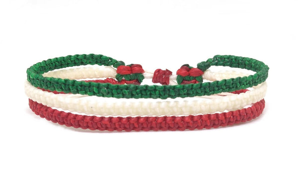 "The ""Skinny Mix"" Thai Wristband Bracelet-Wristband-thaiwristbands-6""-Red White Green-Thai Wristbands"