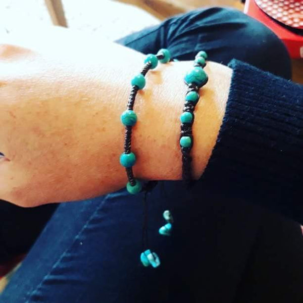 The 2 Turquoise Bead Gemstone Thai Bracelet's - Thai Wristbands