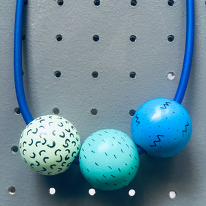 Little Ball Blue Trio Necklace