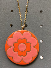 Load image into Gallery viewer, Floral Medallion Necklace- Pink/Orange