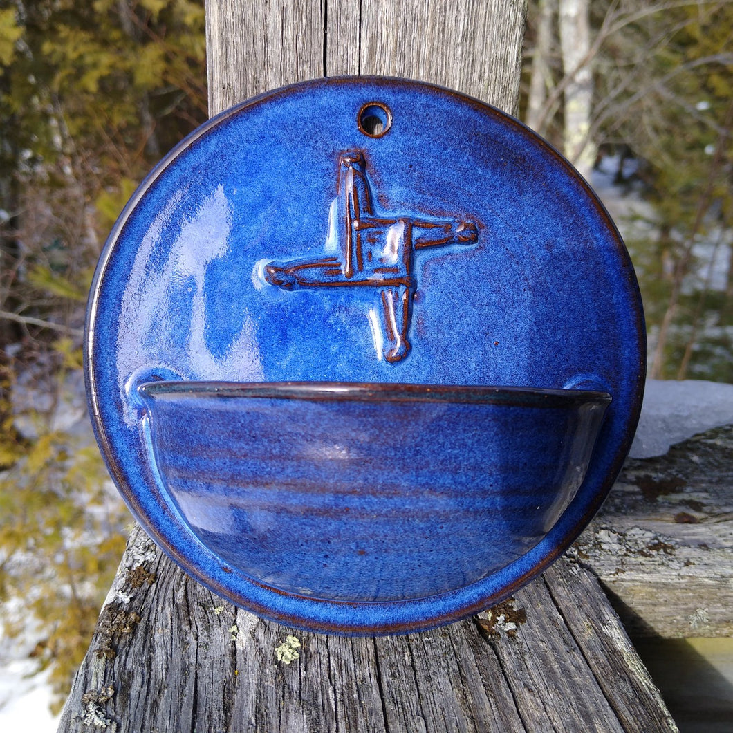 Light Indigo Holy Water Font with Saint Brigid's Cross Relief