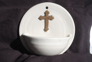 Ivory Holy Water Font with Brown Cross