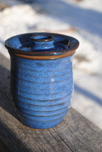Load image into Gallery viewer, Indigo Ribbed Jar with Lid