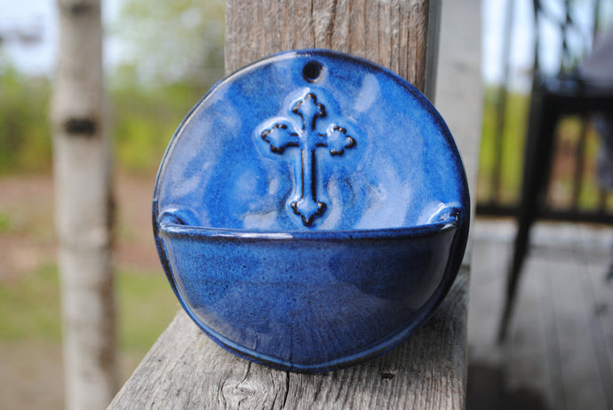 Indigo Holy Water Font with Cross