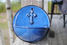 Load image into Gallery viewer, Indigo Holy Water Font with Cross