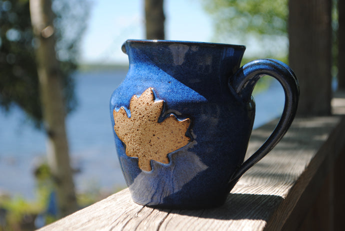 Indigo Maple Leaf Small Pitcher