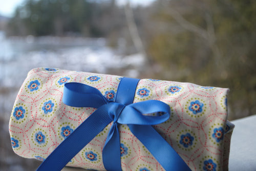 Blue Floral Gift Wrap
