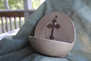 Katahdin Holy Water Font with Brown Cross