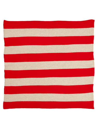 Wide Stripe Square Neckerchief Scarlet & Oatmeal Sample Sale
