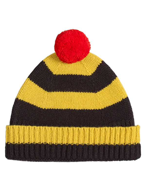 Stripe Pompom Hat Turmeric & Black Sample Sale