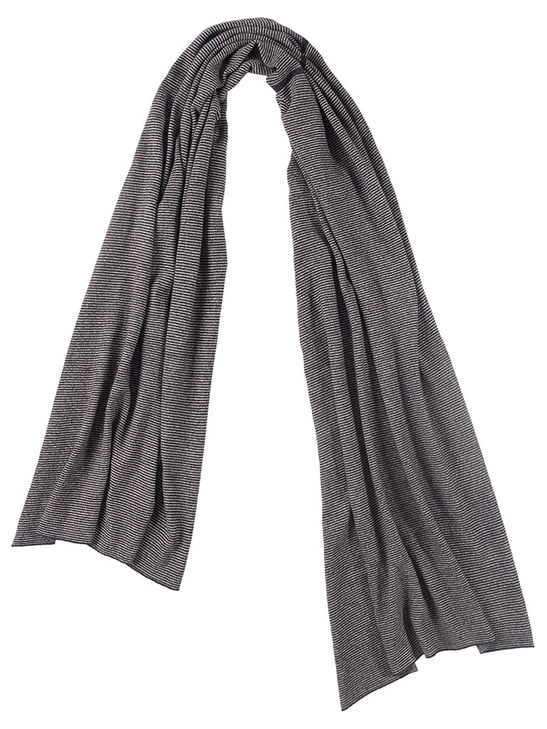 Fine Stripe Scarf Charcoal & Swansdown Sample Sale