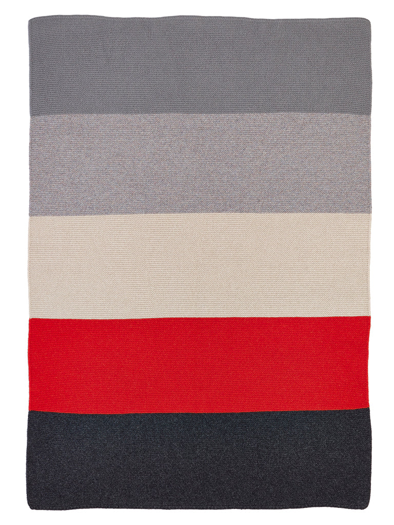 childrens colour block blanket red & grey