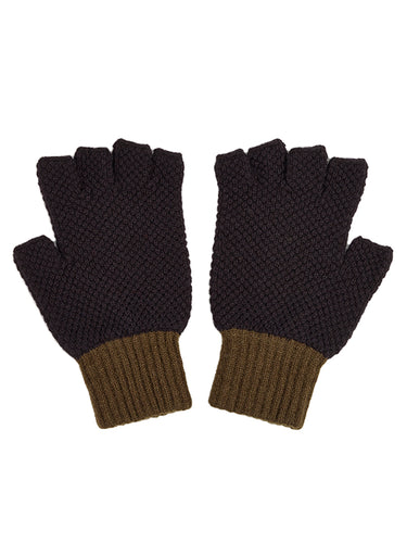 Fingerless Gloves Black & Military-Gloves-Jo Gordon-Fingerless Gloves Black & Military-100% Lambswool-Fingerless Gloves