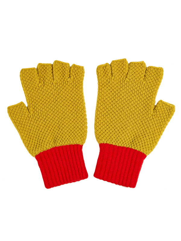 Fingerless Gloves Turmeric & Scarlet