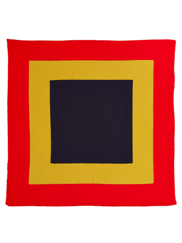 Concentric Squares Neckerchief Scarlet-Small Scarves & Neckerchiefs-Jo Gordon-Concentric Squares Neckerchief Scarlet-100% Lambswool-Neckerchief