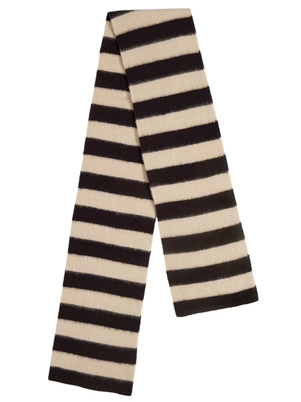 Brushed Wide Stripe Scarf Black & Oatmeal