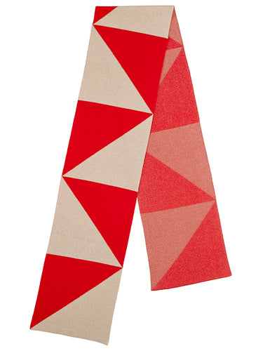 Triangle Scarf Scarlet & Oatmeal-Blanket Scarves-Jo Gordon-Triangle Scarf Scarlet & Oatmeal-scarf-100% Lambswool