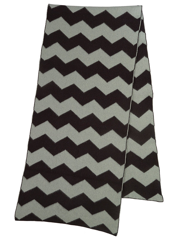 Zigzag Brushed Blanket Scarf Black & Oatmeal