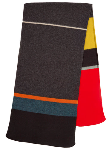 Uneven Stripe Brushed Blanket Scarf-Blanket Scarves-Jo Gordon-100% Lambswool-Blanket Scarves