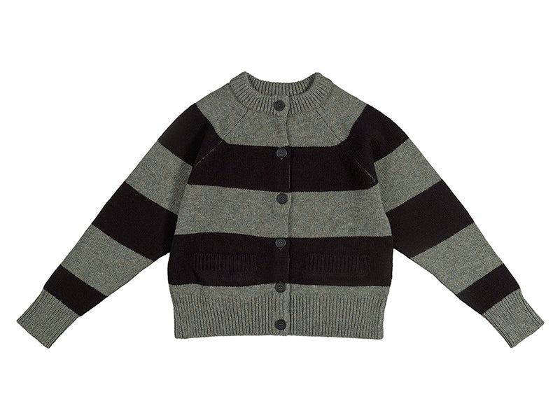 Stripe Cardigan Sage blue & black