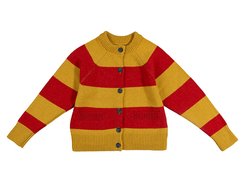 Stripe Cardigan Old Gold & Brandy