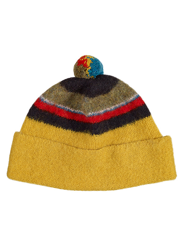 Stripe Shetland Hat Old Gold