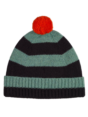 Stripe Pompom Hat Strath & black
