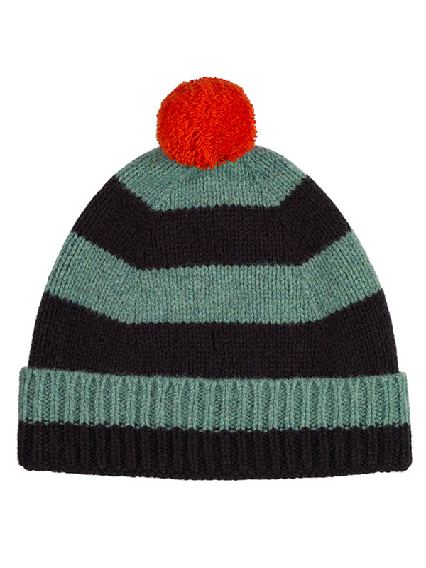 Stripe Pompom Hat Oatmeal & black