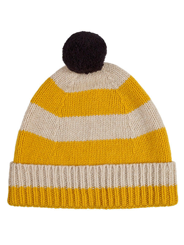 Stripe Pompom Hat Oatmeal & golden eye