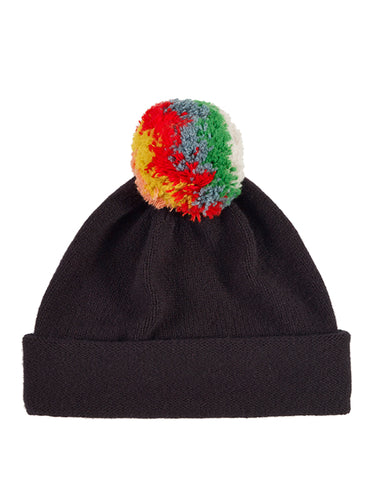 Shaggy Pompom Hat Black-Pompom Hats-Jo Gordon-Shaggy Pompom Hat Black-Pompom Hat-100% Lambswool