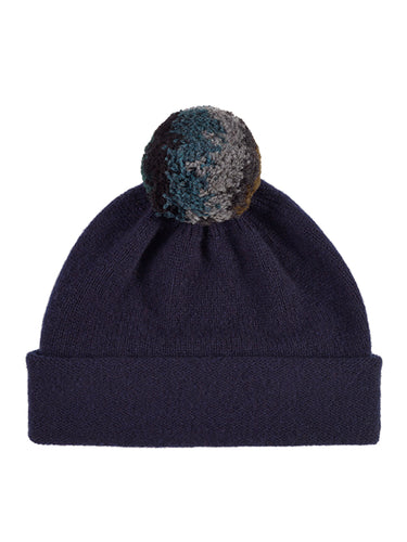 Shaggy Pompom Hat Nero Navy-Pompom Hats-Jo Gordon-Shaggy Pompom Hat Nero Navy-Pompom Hat-100% Lambswool