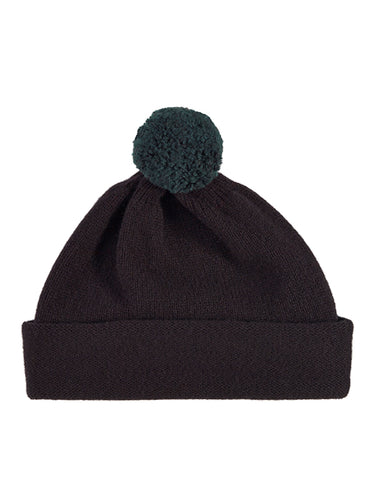 Plain Hat Contrast PomPom Black-Pompom Hats-Jo Gordon-Plain Hat Contrast PomPom Black-Pompom Hat-100% Lambswool