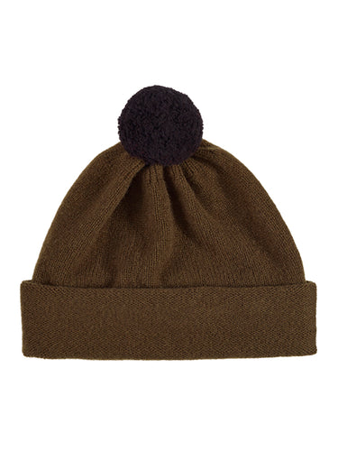Plain Hat Contrast PomPom Military-Pompom Hats-Jo Gordon-Plain Hat Contrast PomPom Military-Pompom Hat-100% Lambswool