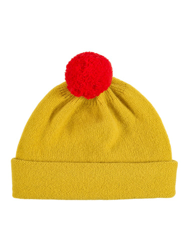Plain Hat Contrast PomPom Turmeric-Pompom Hats-Jo Gordon-Plain Hat Contrast PomPom Turmeric-Pompom Hat-100% Lambswool