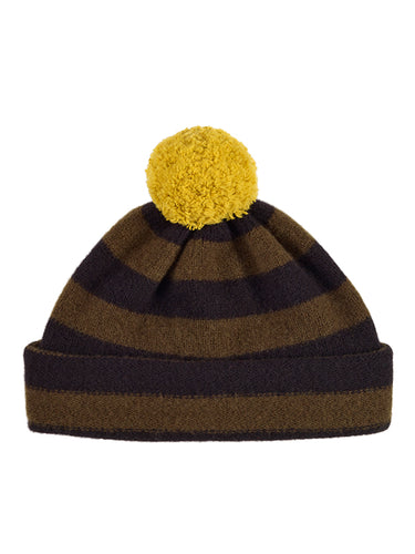 Stripe Pompom Hat Black & Military-Pompom Hats-Jo Gordon-Stripe Pompom Hat Black & Military-Pompom Hat-100% Lambswool