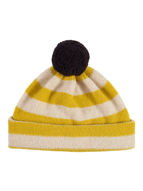Stripe Pompom Hat Black & Oatmeal